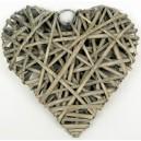 Coeur plein en osier tressé 20 cm gris