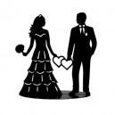 Couple mariés métal noir 17 x 7 x 18cm